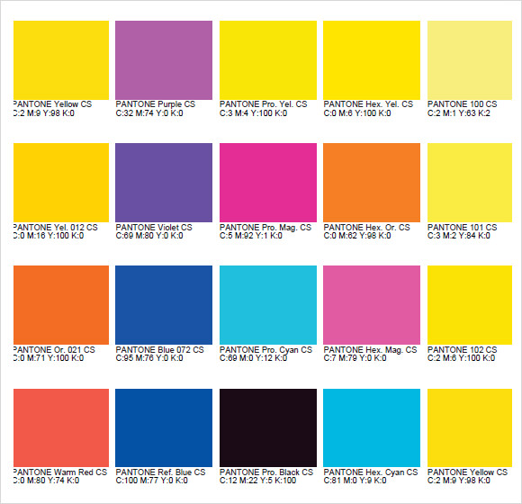 Sample Pms Color Chart - 7+ Examples, Format