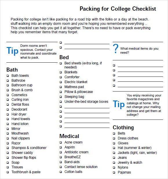 Sample Packing Checklist  KakTakTk