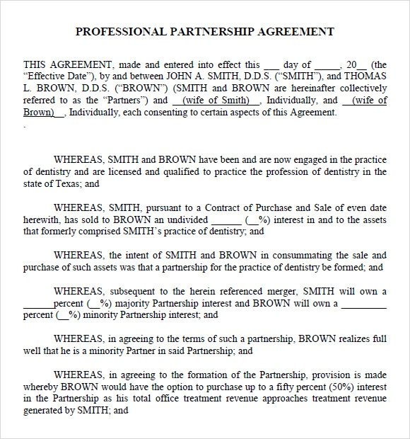 business partnership agreement template free .