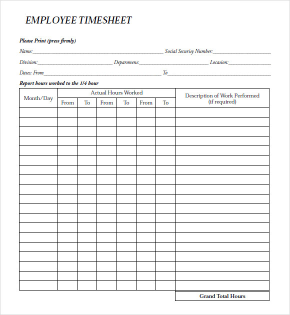 Sample Payroll Timesheet 7 Documents in PDF Word – Sample Blank Timesheet