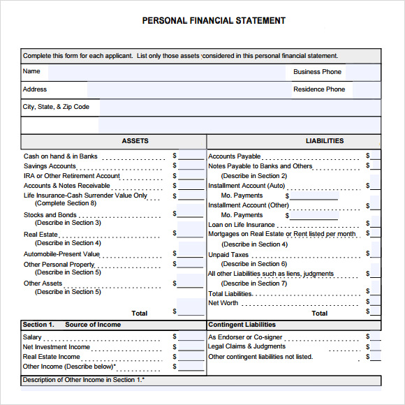 Sample Financial Statement   Documents In Pdf Word