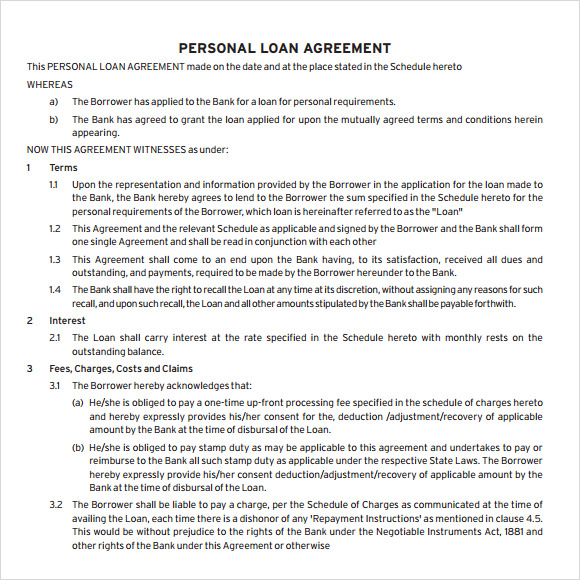 Personal Loan Agreement  Personal Loan Document Template