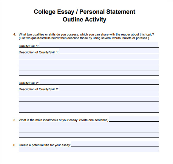 template for personal statement for college