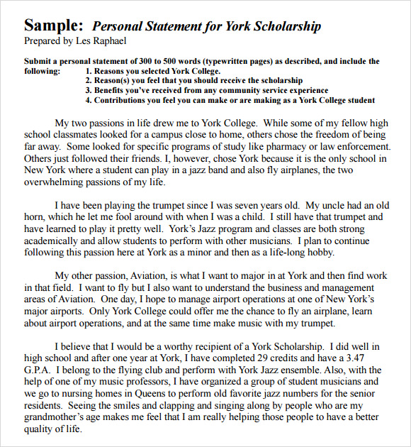 Personal Statement Samples For Grad School