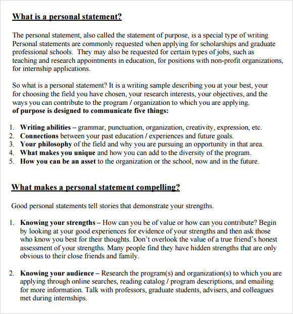 Sample Personal Statement   Documents In Word Pdf