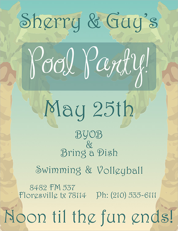 pool party invitation template .