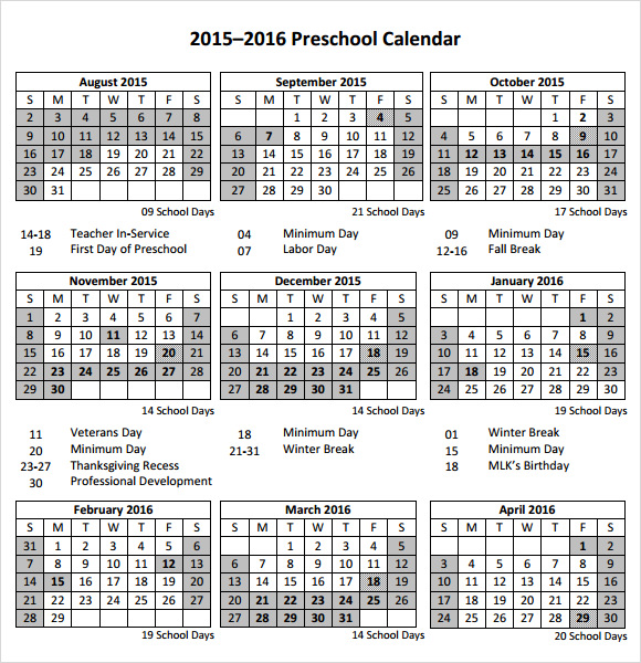 image regarding Preschool Calendar Printable titled Absolutely free 10+ Preschool Calendar Templates in just No cost Samples