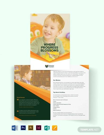 primrose preschool bi fold brochure template