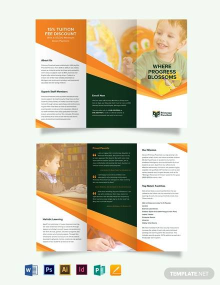 primrose preschool tri fold brochure template