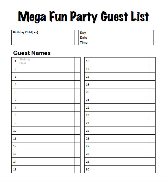 Sample Guest List 8 Documents In PDF Word Excel – Sample Guest List
