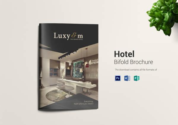 printable hotel bi fold brochure design template