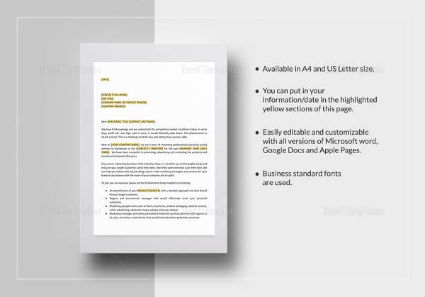 product marketing proposal letter
