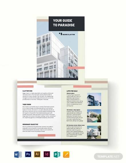professional real estate broker agent agency bi fold brochure template
