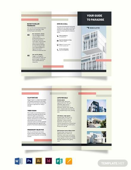 professional real estate broker agent agency tri fold brochure template