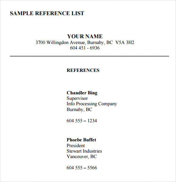 Reference List Sample Professional References List Sample Sample