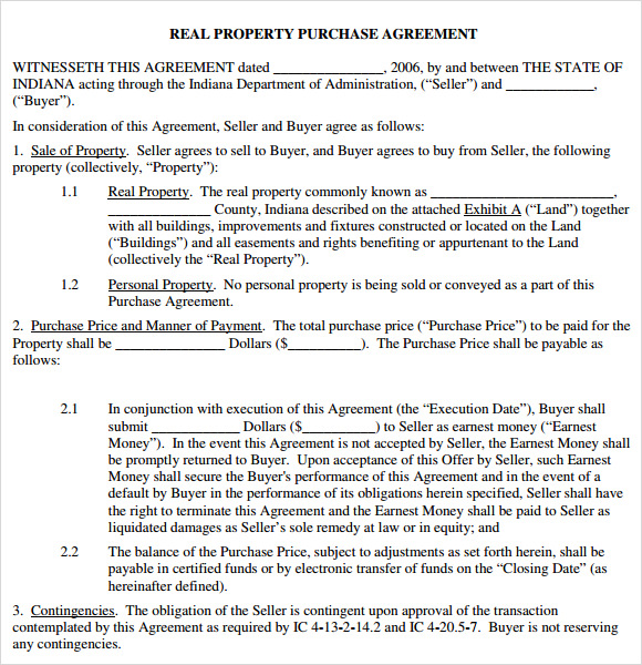 Sample Purchase Agreement   Examples Format
