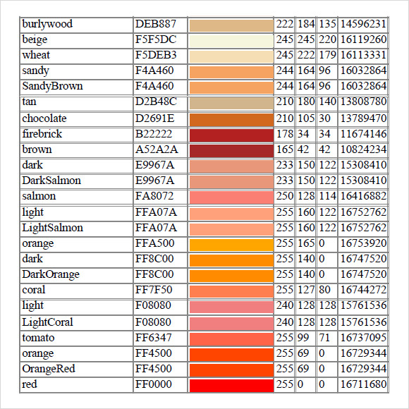 Rgb Color Charts Free Sample Example Format