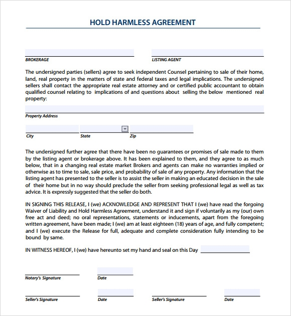 9 Sample Hold Harmless Agreements