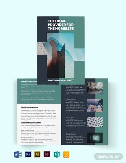 real estate investment group bi fold brochure template