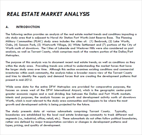Sample Real Estate Market Analysis   Examples Format