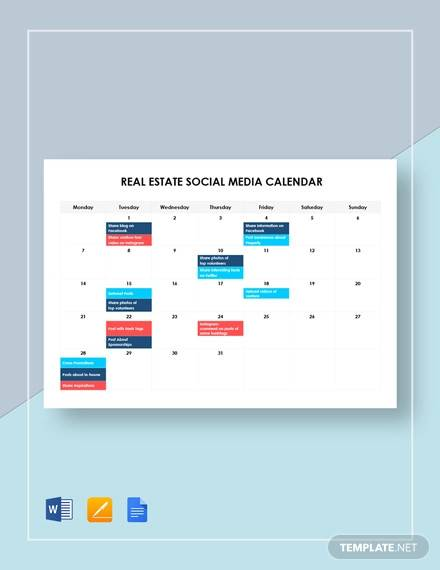 real estate social media calendar template