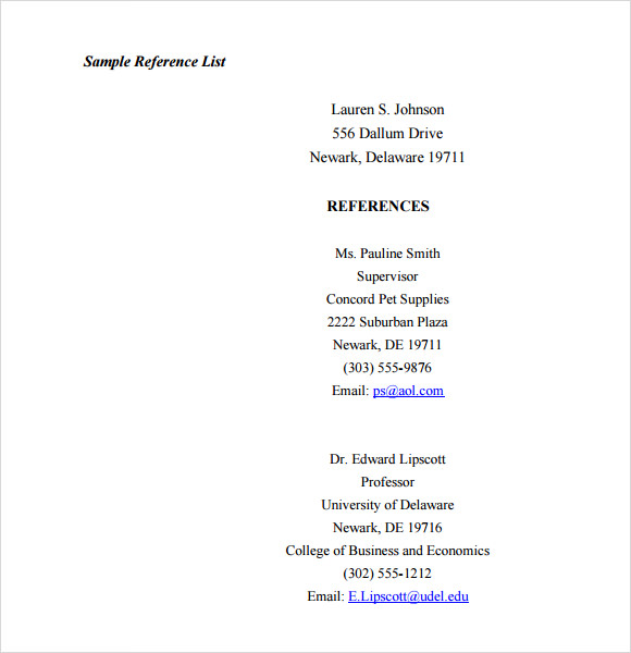 Doc.#650810: Professional References Template – References Sample