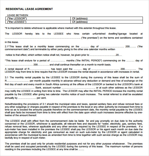 rental lease agreement template .