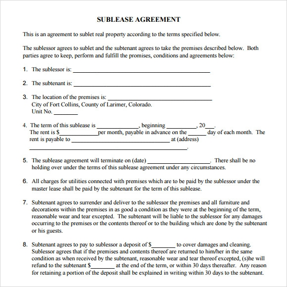 Sublet Agreement Format  GreyBtsaCo