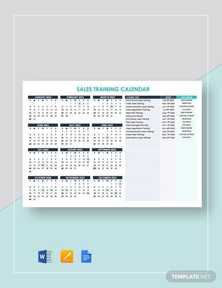 sales training calendar template