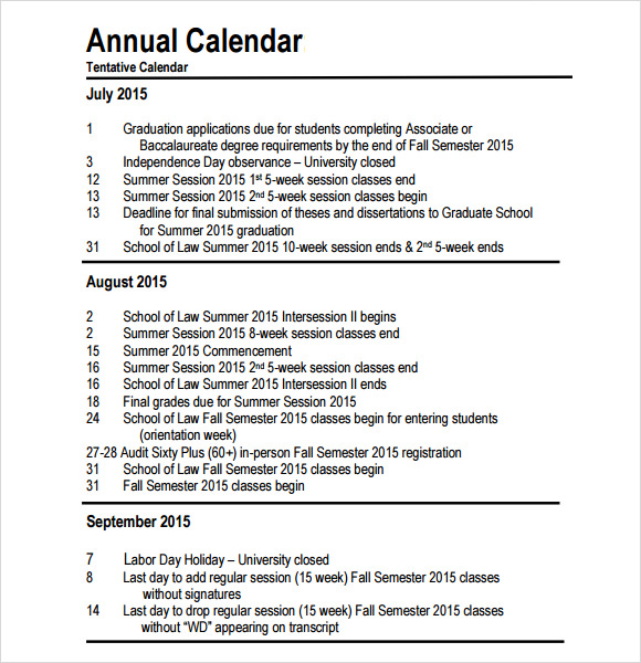 Annual Calendar   Free Samples Examples Format