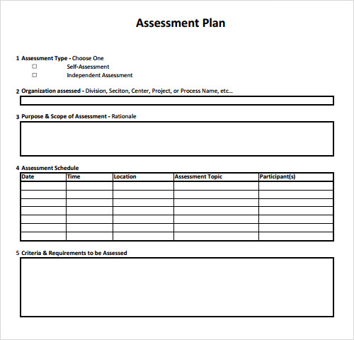 sample assessment plan template