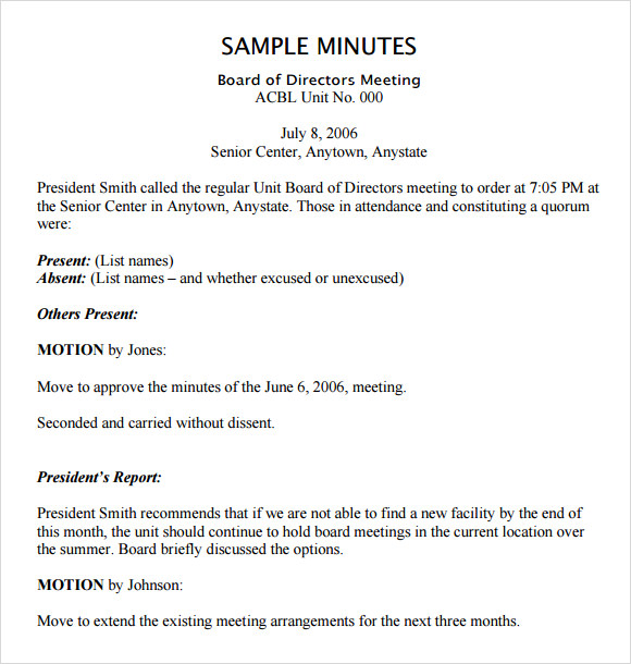 Board Meeting Agenda 11 Free Samples Examples Format – Free Sample Minutes of Meeting Template