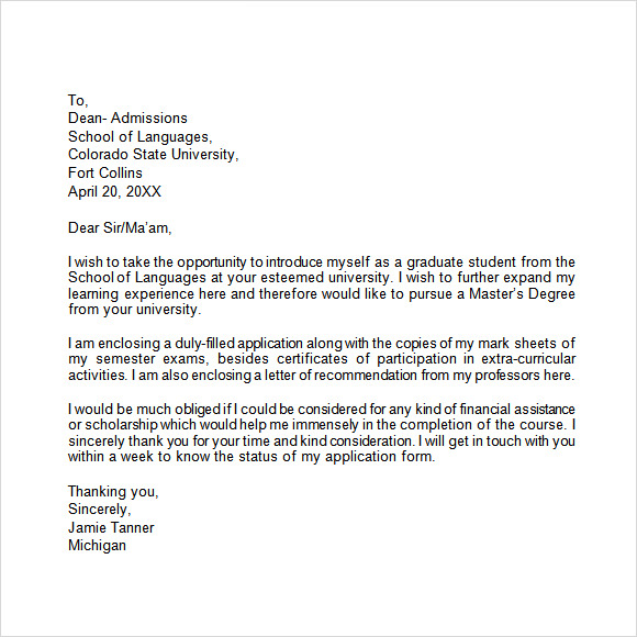free sample application letter