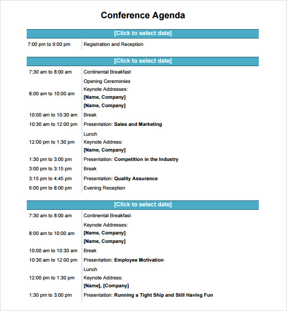 Agenda Planner 7 Free Samples Examples Format – Sample Conference Schedule Template Example