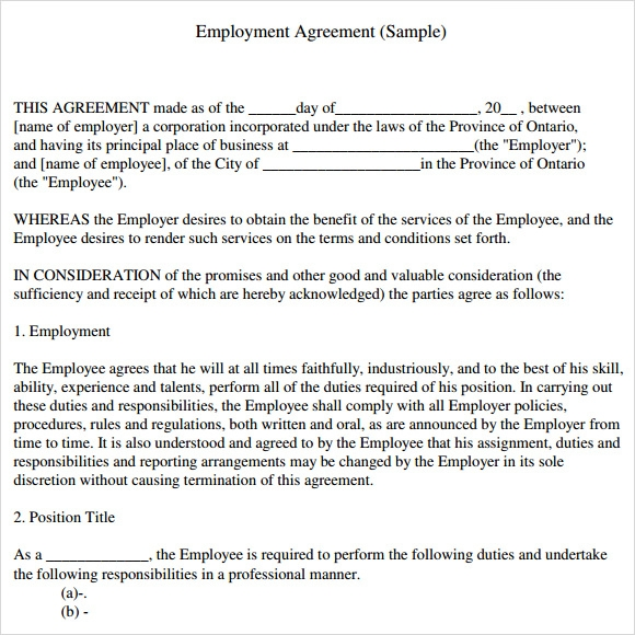 sample contractual agreement template