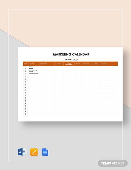 sample marketing calendar template