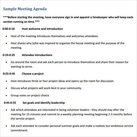 sample meeting agenda planner