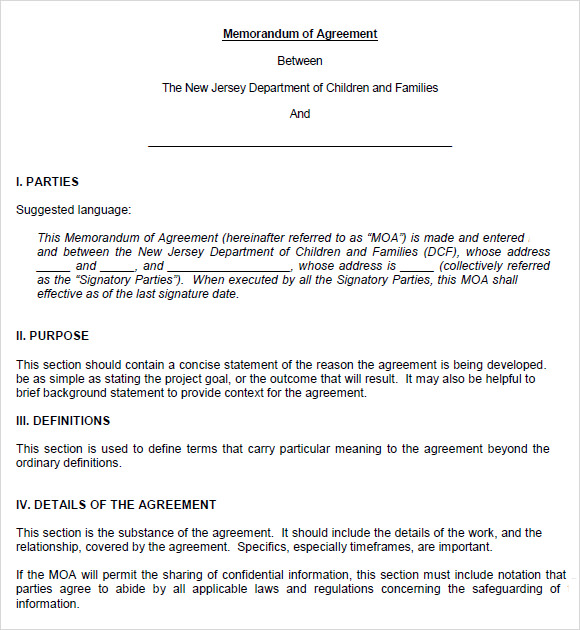 10 memorandum of agreements pdf word sample templates for Template for a memorandum of understanding