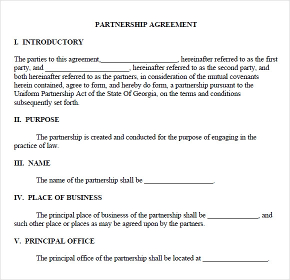 General Partnership Agreement Template - Generic partnership agreement template