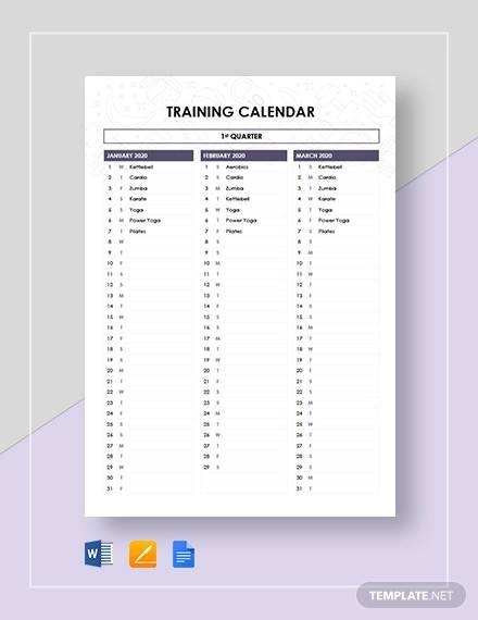 sample training calendar template