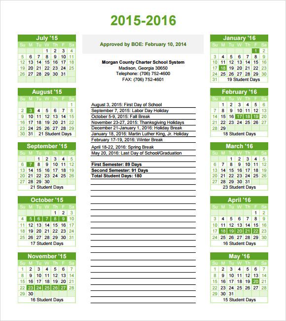 school calendar template download