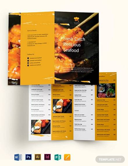 seafood restaurant take out bifold brochure template