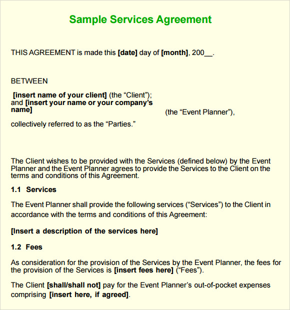 8 Sample Service Agreements Sample Templates