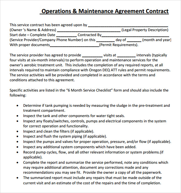 sample service level agreement template – Service Contract Format