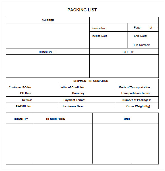 Packing List Template   Free Samples  Examples  Format