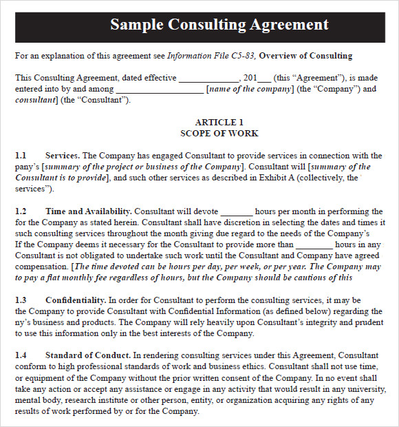 10 sample consulting agreements sample templates for Consultant contract template free download