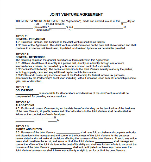Sample Joint Venture Agreement 10 Documents In PDF Word – Joint Venture Agreement