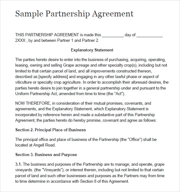 8 Sample Partnership Agreements