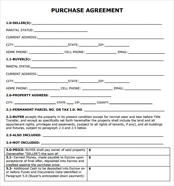 purchase agreement 7 free samples examples format sample templates