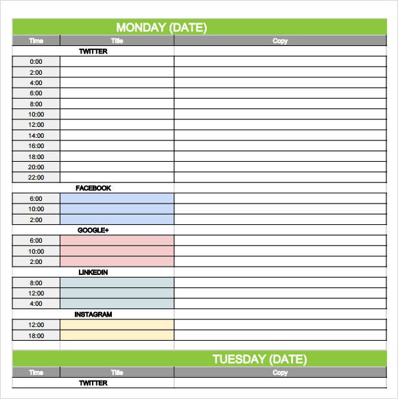 social media calendar template 2013